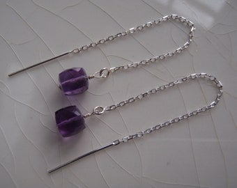 Tiny Amethyst Faceted Cubes & Sterling Silver Threader/Ear Thread Dangle Earrings
