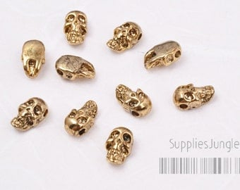 MB011-AG// Antique Gold Plated Skull Metal Beads, 4Pcs