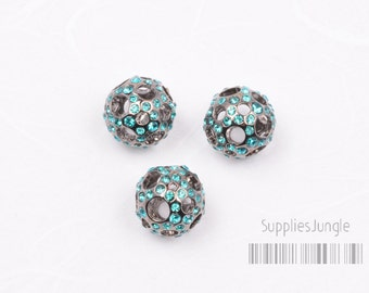 SALE// MB020-BZ// Hollow Cubic Ball Bead(Blue Zircon), 12mm, 2 pcs