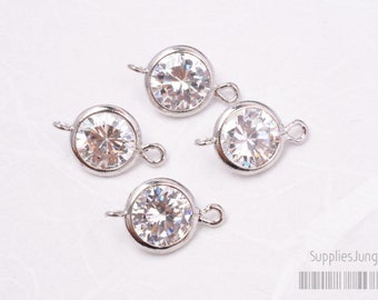 F113-02-S// Original Rhodium Plated 6mm Cubic Zirconia Round Pendant Connector, 4pcs