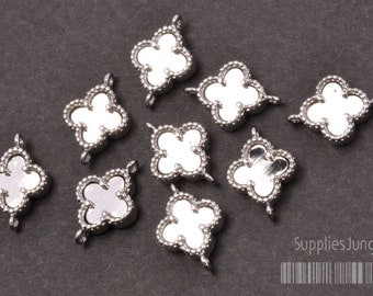 P300-02-R// Original Rhodium Plated framed Clover Pendant, 2pcs
