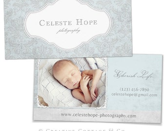 Heavenly- Vintage Victorian Blue Business Card Template PSD file, WHCC Spec