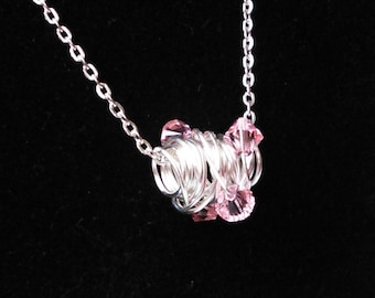 Wire Wrapped  Pink Silver Necklace