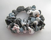 Black and White Bead Party Beaded Bracelet OOAK