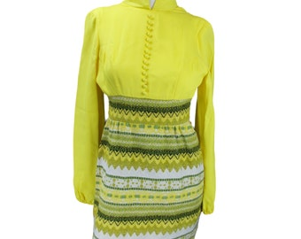 Yellow Zig Zag Mad Men Style Dress - Free US Shipping