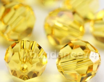 Swarovski Elements Crystal Beads 5000 Round Ball Beads LIGHT TOPAZ - Available in 4mm ,6mm , 8mm and 10mm
