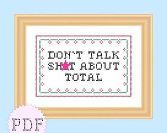 INSTANT DOWNLOAD PDF Cross Stitch Pattern Quote Mature Tourette's Guy