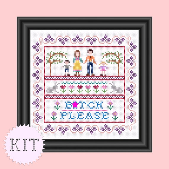 KIT Cross Stitch funny sampler