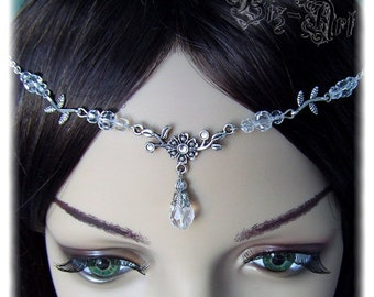 Floral Crystal Renaissance Medieval Circlet Headpiece Headdress Wedding First Communion Bridal Prom