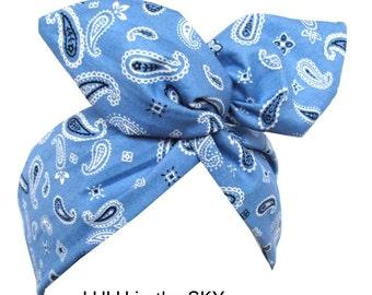 Baby Blue & White Paisley print Rockabilly Wire Headband - Bandana