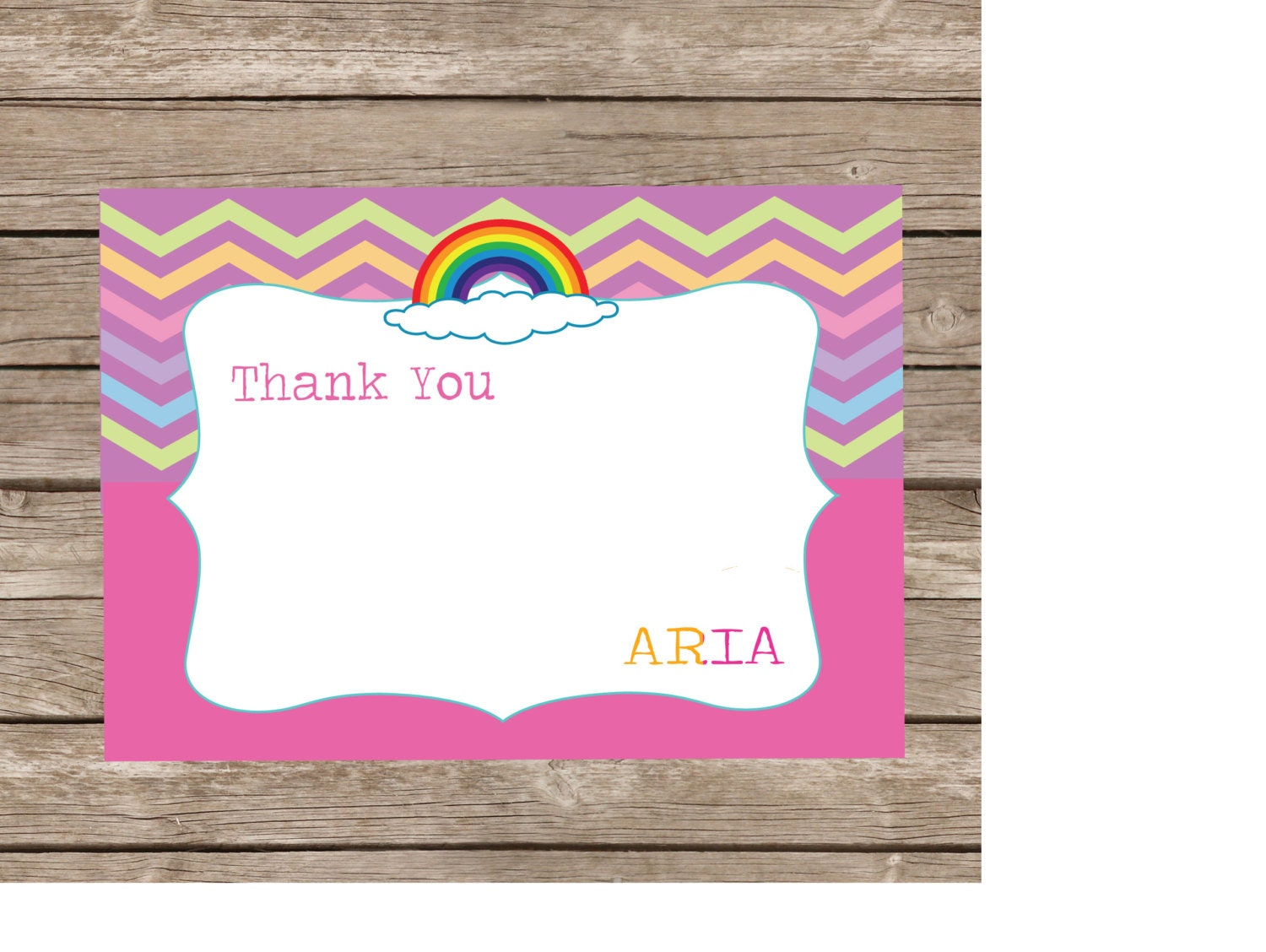 Free Thank You Notes And Custom Girls Rainbow Birthday Party Invitations