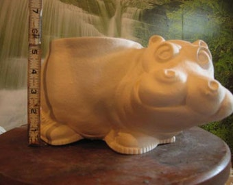 Hippo Pot, Hippopotamus, Flower vase, Flower Planter, Hippopotamus with shoes, Hippo in sneakers, u-paint,Ready to paint,Ceramic bisque