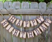 Happy Birthday,  Burlap Banner, Rustic Birthday Banner, Adult Birthday, Childrens Birthday, Cowboy Birthday, Farm Barn Syle Banner
