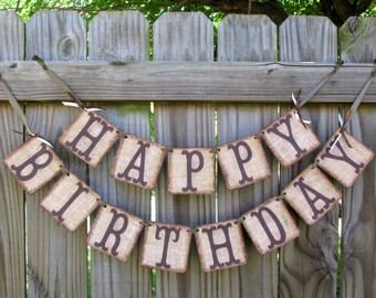 Happy Birthday,  Burlap Banner, Rustic Birthday Banner, Adult Birthday, Childrens Birthday, Cowboy Birthday, Farm Barn Syle Banner
