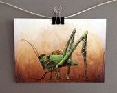 4x6 Small Art Print Steampunk Insect Grasshopper Art Industrial