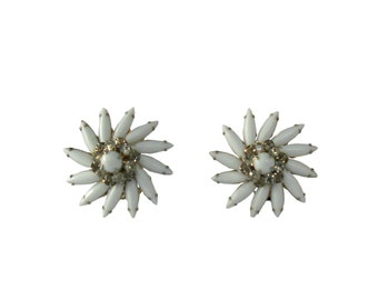 Vintage Earrings Judy Lee Milk Glass and Rhinestone Flower Design - Clip On