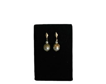 Vintage Dangle Earrings 1960s Gold Tone and Faux Pearl Clip Ons