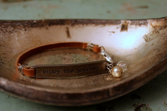 "Leather Bracelet Stamped Quote ""Enjoy the Journey"" with Crystal and Pearl"