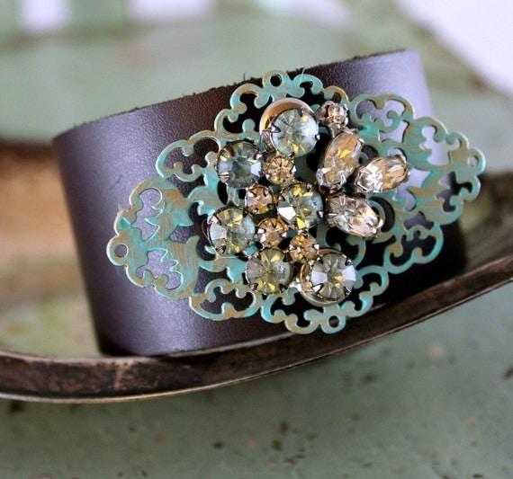 Upcycled Leather Cuff Bracelet Rhinestone