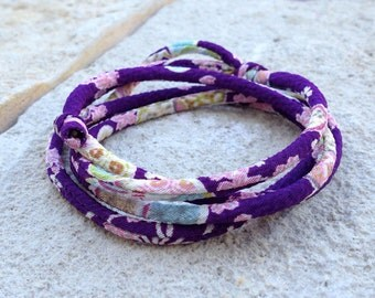 Japanese KIMONO chirimen fabric cord wrap bracelet or choker adjustable with gift envelope / Purple