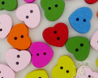 100 pcs mixed wood heart Button/cute mixed colors cabochon 13x15mm