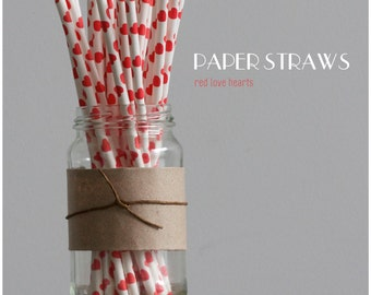25 Red Love Hearts Paper Straws -  Standard 7.75'' / 19.68cm