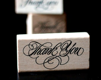 Thank You - Medium Calligraphy Script Font Wooden Rubber Thank You Stamp  - Stamp House