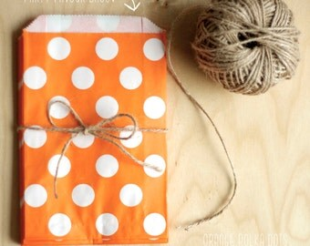 Orange Polka Dot Party Favour Bags - 5 x 7 inch Favor Gift Bag - Packet of 12
