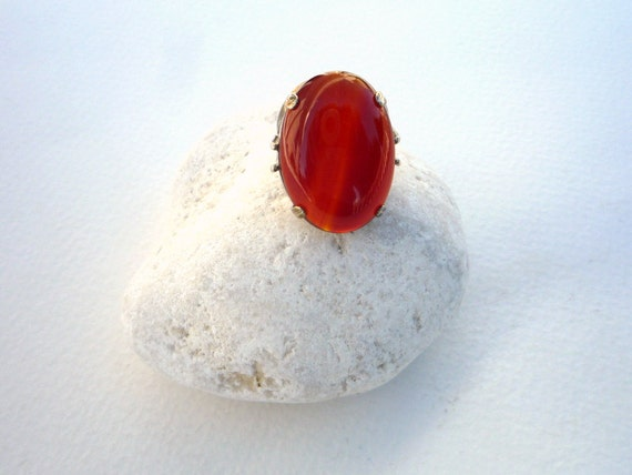 Sterling Silver and Carnelian cabochon ring.Red Gemstone Ring.Carnelian Gemstone Ring. Sterling Silver Ring.Christmas Gift.