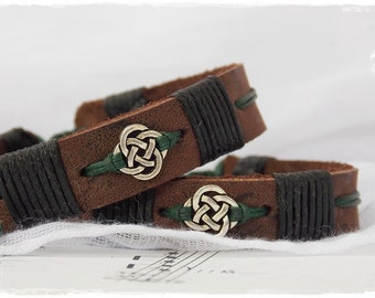 Celtic Leather Bracelet, Adjustable Leather Cuff, Men's Bracelet Wristband, Irish Leather Bracelet, Nordic Love Knot Bracelet, Leather Cuff