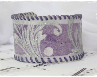 Purple Pastel Cuff,Silver Swirls Bracelet, Leather Cuff Bracelet, Decoupage Leather Cuff, Gothic Leather Bracelet, Decoupage Leather Jewelry