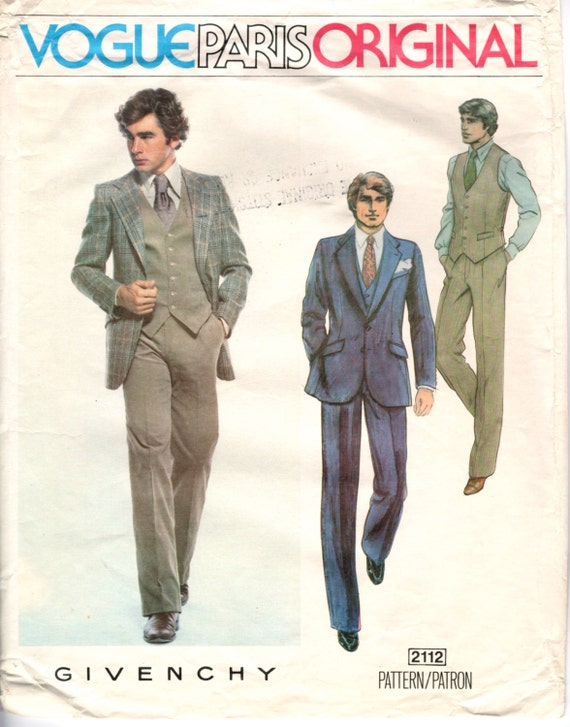 1970s Givenchy menswear pattern - Vogue Paris Original 2112