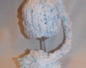 Newborn Hand Knitted Blue Fleecy Long Tail Pixie Pom Pom Hat Photography Prop Ready to Ship