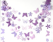purple paper garland with flowers and butterflies birthday party  wedding easter bridal shower baby shower