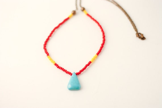 Colorful red and yellow czech glass seed beads necklace with turquoise gemstone