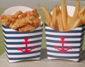 Striped Nautical Anchor Favor Box - Set of 12