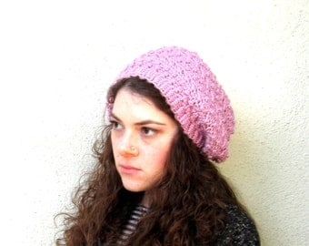 Lilac Hipster Slouchy Crochet Hat Hippy Hippie Snood Women's Winter Accessory