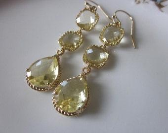 Citrine Earrings Yellow Gold Earrings Three Tier - Bridesmaid Earrings - Bridal Earrings - Wedding Earrings Jewelry