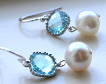Aquamarine Earrings Pearl Earrings Silver Blue Glass - Bridesmaid Earrings Wedding Earrings Bridesmaid Jewelry