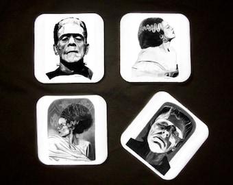 Four Drink Coasters - Frankenstein's Monster and The Bride - Original Graphite Portrait