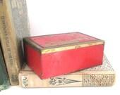 Vintage Metal Box Trinket Jewelry Storage Red Enamel Industrial Metal Container