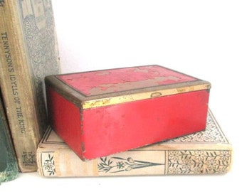 Vintage Metal Box Trinket Jewelry Storage Red Enamel Industrial Metal Container