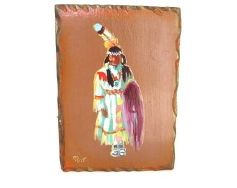 Tribal Indian Wood Plaque Neon Art Apache Indians Wall Hanging Bohemian