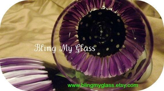 Two Piece Purple Daisy Wine Glass with any bottom choice.