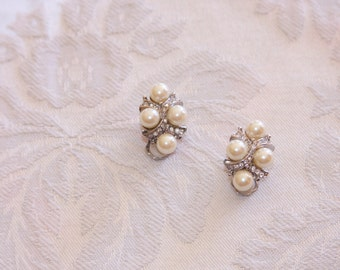 Vintage Rhinestone and Faux Pearl Clip On Earrings