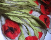 Nuno felted scarf - Bouquet of poppies