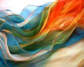 Silk three-layer scarf - Rainbow