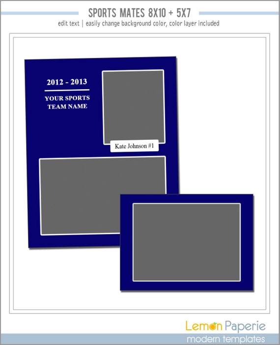 memory mate templates for any team or sport includes 8x10. Black Bedroom Furniture Sets. Home Design Ideas