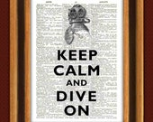 Keep calm and dive on Print, Diving Print Dictionary art Print, Upcycled book Page,nautical print, marine wall decor, beach cottage decor
