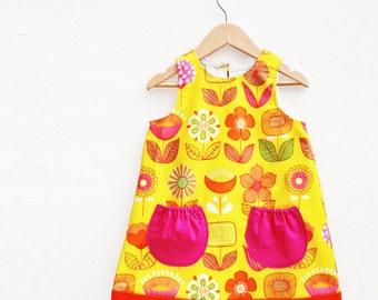 Girls Retro Modern Flower dress